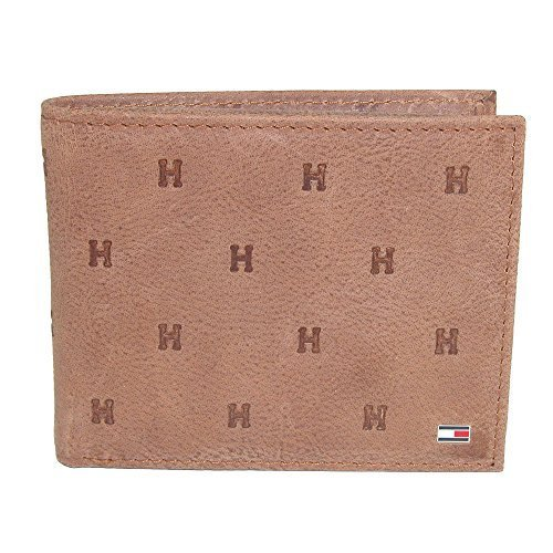 Tommy Hilfiger Men's Leather Vaughn Embossed Bifold Wallet, Saddle