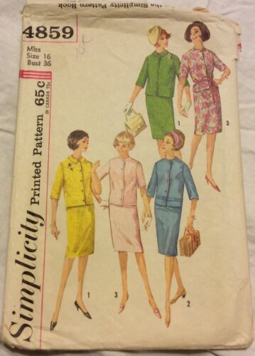 Primary image for 1960's Simplicity Sewing Pattern 4859 Size 16 Skirt & Jacket