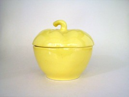 "Vintage California Pottery Yellow Pepper Canister with lid #48 Cookie Jar 5.5""  - $39.59"