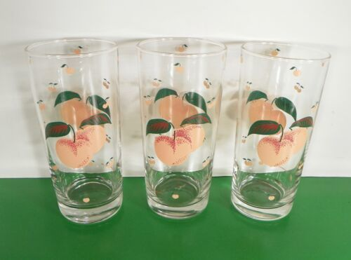 Primary image for Anchor Hocking Glass FRUIT Highball Tumbler (s) LOT OF 3 Peaches Vintage 1987