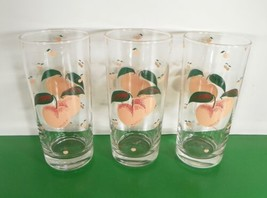 Anchor Hocking Glass FRUIT Highball Tumbler (s) LOT OF 3 Peaches Vintage... - $24.70