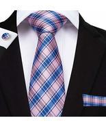 "Classic Extra Long Mens Tie Necktie Hanky Silk N-7516 (8.5""x160"") Multi ... - $17.82"