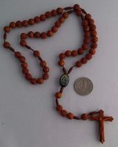 Light Brown Molded Rosary OL Charity / Rosario Cuentas Florecitas V Caridad - $5.99