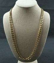 Vintage Signed NAPIER Gold Tone 3 Strand Chain Necklace Small Bead Design  - $24.99