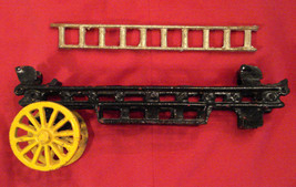 "Cast Iron Horse Drawn Fire Fighter Truck PARTS 9"" Wagon and 7"" Ladder ON... - $19.75"