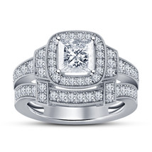 14k White Gold Finish 925 Sterling Real Silver Her Anniversary Diamond R... - $96.99