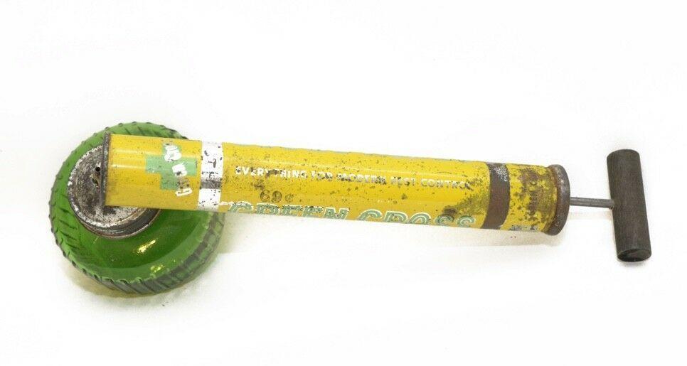 Vintage Green Cross Pump Bug Sprayer Green Glass Jar Wooden Handle USA Working