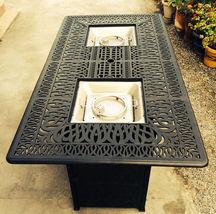 Outdoor Propane Fire Pit bar height double burner table Elisabeth aluminum patio image 6