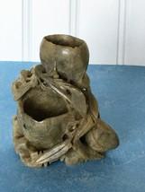 Vintage Antique Carved Soapstone Double Vase Leaf Craved Sculpture - $44.06