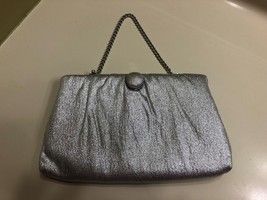 NEW VINTAGE HARRY LEVINE HL SILVER LAME CLUTCH PURSE SATIN LINED SPARKLY... - $7.49