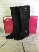 A2 by Aerosoles Robbins Egg Black Fabric Wedge Knee High Boots Womens Si... - $74.24