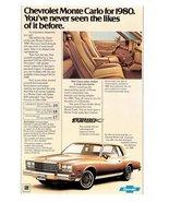 1979 Chevrolet 1980 Monte Carlo chevy turbo V6 print ad - $10.00