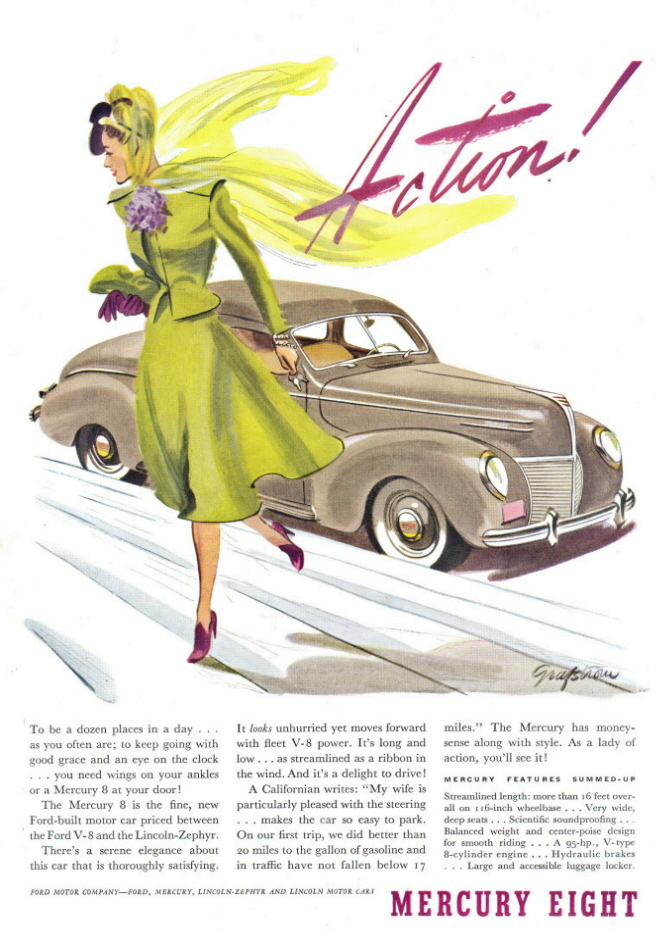1939 Mercury Eight with lady in green art work print ad
