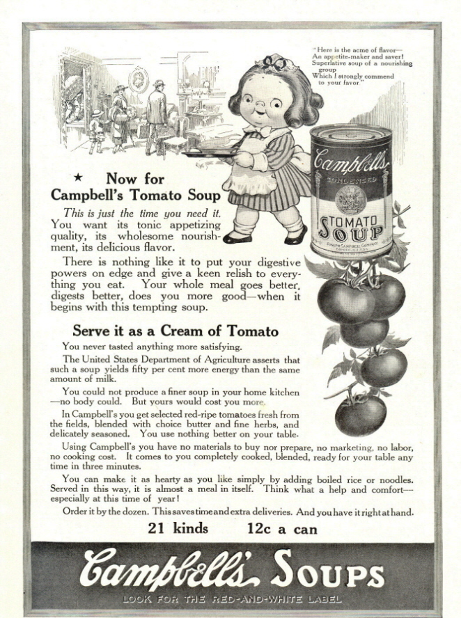 1943 Campbell's Tomato Soup Bunch of Tomato print ad