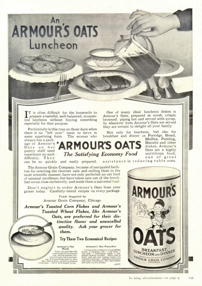 1938 Armour's Oats Luncheon economy food print ad