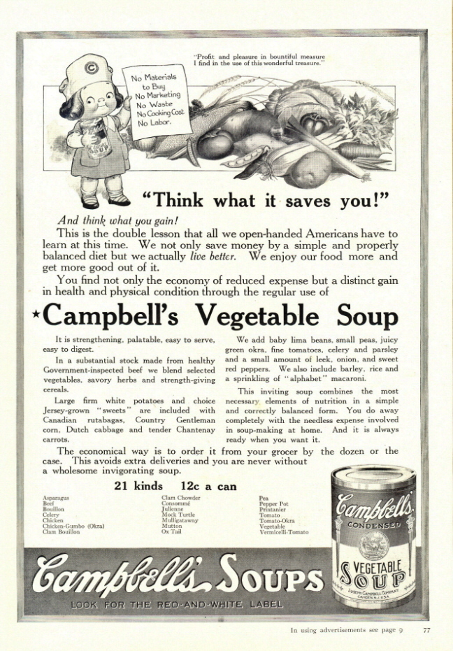 1938 Campbell's Vegetable Soup money saving print ad