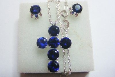 Sapphire Cross and stud  Earrings 18in chain Set 925 SS