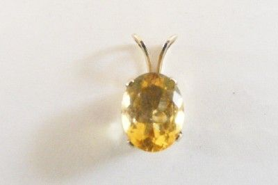 Golden Citrine Gemstone Pendat 2 tcw 925 Sterling Silver October Birthstone