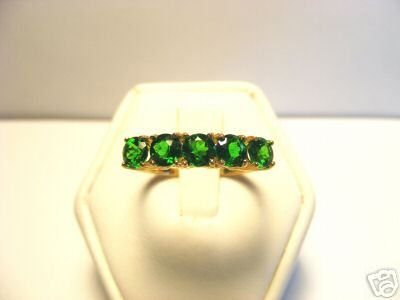 Chrome Diopside natural Green Gemstone  band style 10kt Yellow gold Ring size 7