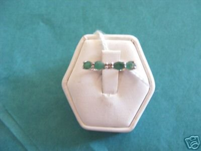 Emerald and diamond accent ring size 7  sterling silver