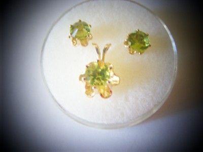 Peridot Gemstone 1.50ctw Earrings and Pendant Jewelry set