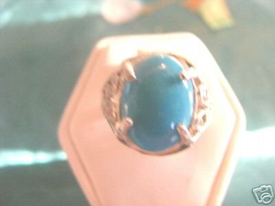 Blue Turquoise Ladies Ring Sterling sz 6