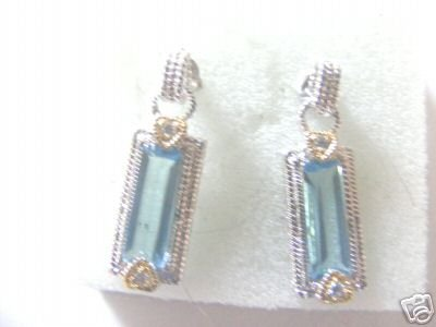 Blue Crystal and Cubic Zirconia two tone earrings