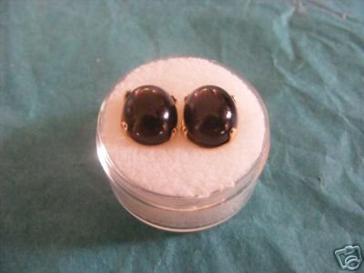 Black Diopside Stud Earrings 12x10mm ovals