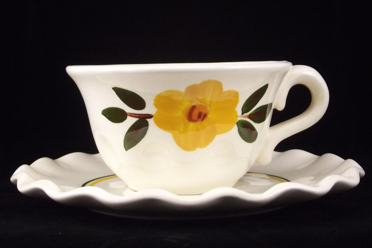 Stangl Pottery Sunshine hand painted cup and saucer lot  of 2 vintage