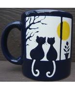 Vintage WAECHTERSBACH CATS UNDER FULL MOON Ceramic NAVY BLUE Mug  WEST G... - $86.99