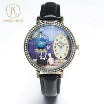 Watch Women MISS KEKE 3D World Vintage Bule Bird Bronze with Black Band $50 - $35.83 CAD