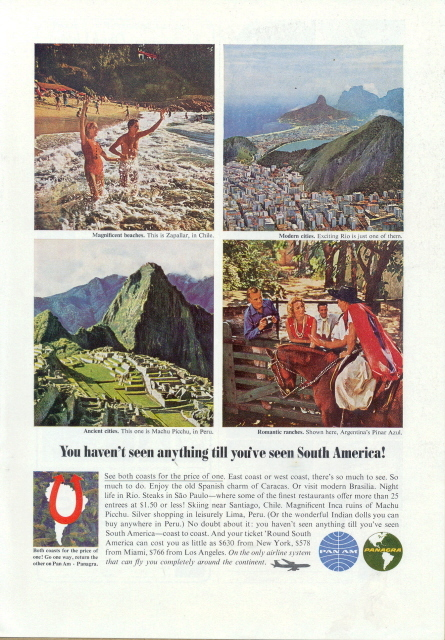 1962 Pan AM Panagra Airlines South America vacation ad