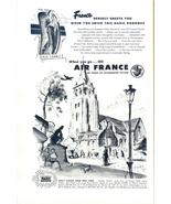 1958 Air France vacation travelling art print ad - $10.00