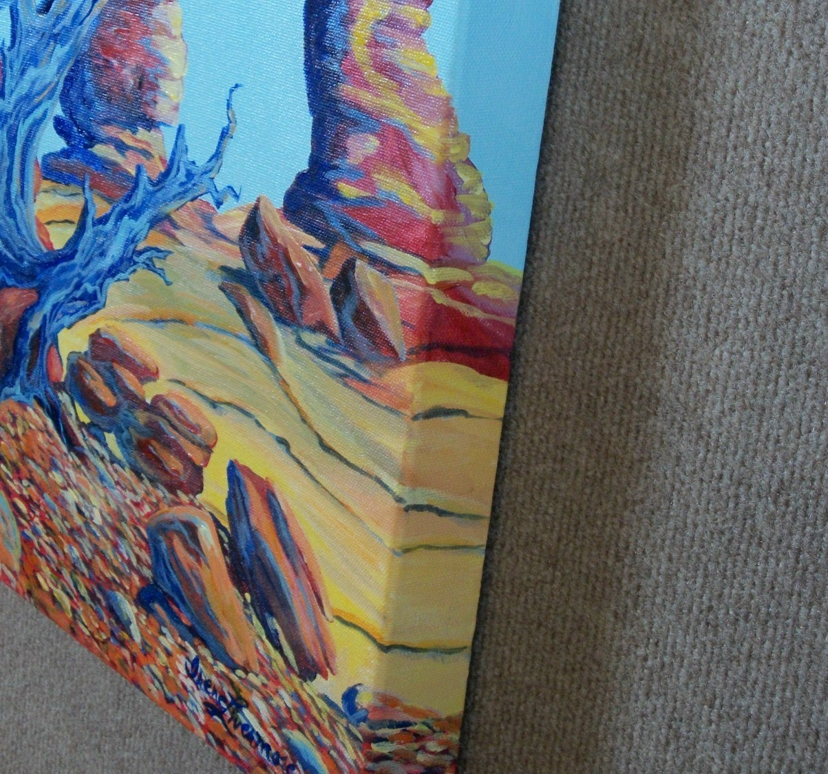 Blue Tree Landscape Delicate Arch Surreal Oil Original Painting Stretched Canvas