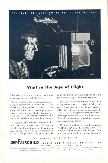 1944 FAIRCHILD Engine and Airplane Co. lab research print ad
