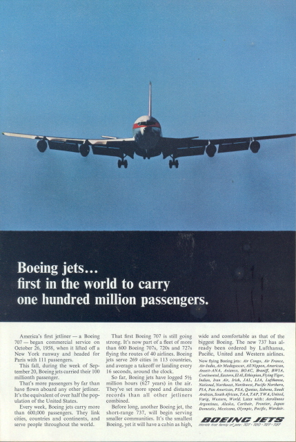 1966 Boeing Jets landing from clear blue sky print ad