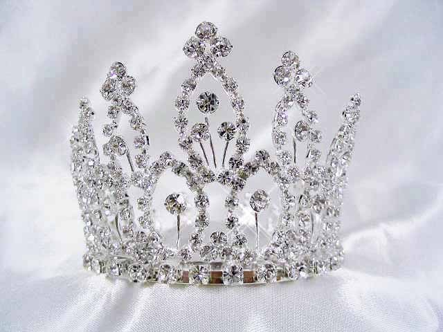 Primary image for HUGE FILIGREE FANCY CRYSTAL SMALL CROWN BRIDAL HAIR COMB 5029