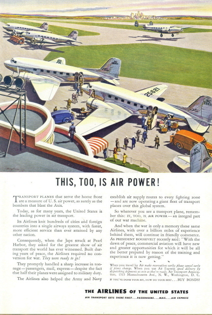 1948 America Air Transport Association airport art print ad