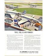 1948 America Air Transport Association airport art print ad - $10.00