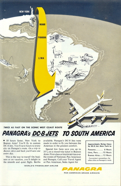 1955 Panagra DC-8 Jets South America Route print ad
