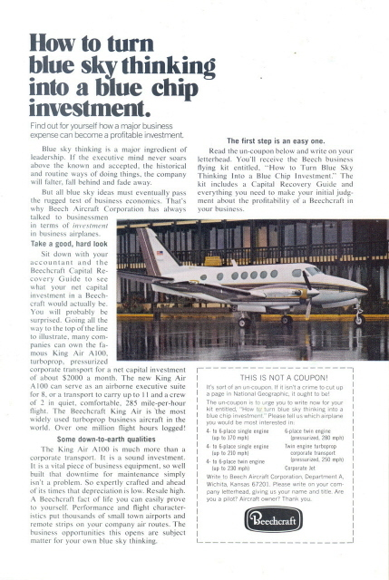 1973 Beechcraft King Air A100 Corporate jet print ad