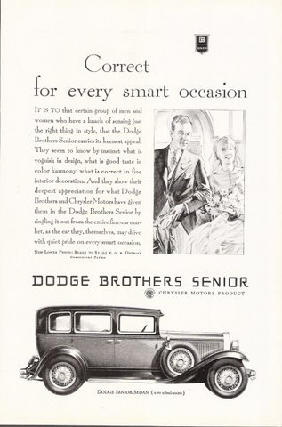1929 Chrysler Dodge Brothers Senior Sedan print ad