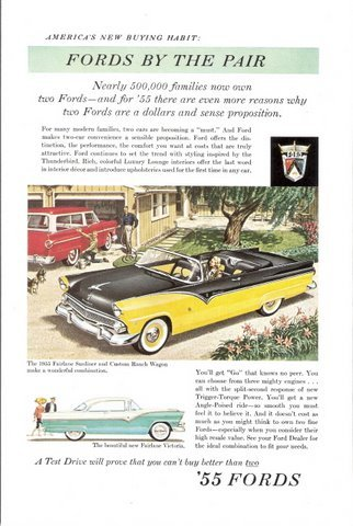 1955 Ford Fairlane Sunliner & Custom Ranch Wagon print