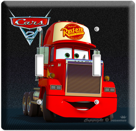 DISNEY'S CARS 2 MACK THE TRUCK DOUBLE LIGHT SWITCHPLATE