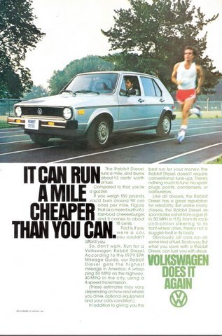 1978 Volkswagen Rabbit Diesel runner in action print ad