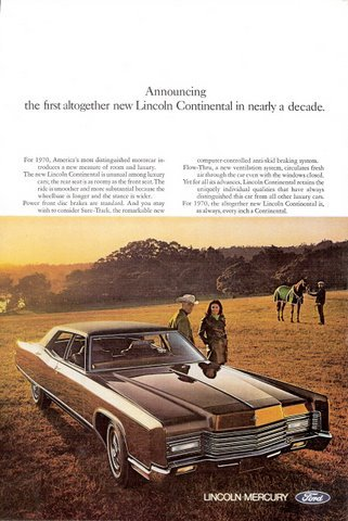 1969 Ford Lincoln Continental car magazine print ad