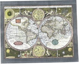 World Map of 1626 Vintage Collectible 8X10 Matted Foil Historical Print - $7.95
