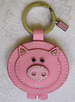 NEW COACH LEATHER PINK PIG KEY CHAIN FOB CHARM 92836