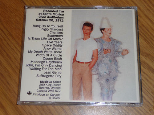 David Bowie Moonage Daydream Santa Monica 1972 Original Musique Sabot Cd Canada