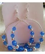 Silver Blue Bead Hoop Big Dangle Earrings Women - $5.99